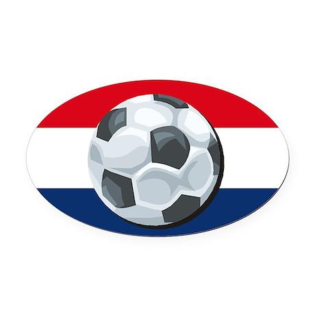 Dutch Soccer Oval Car Magnet
