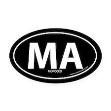 Morocco country bumper Oval Car Magnet -Black (Ova