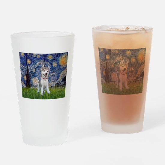 Starry-Siberian pup Drinking Glass