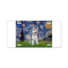 Starry-Siberian pup Aluminum License Plate