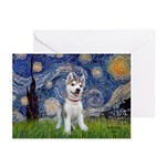 Starry-Siberian pup Greeting Cards (Pk of 20)