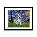 Starry-Siberian pup Framed Panel Print