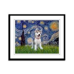 Starry-Siberian pup Framed Panel Print