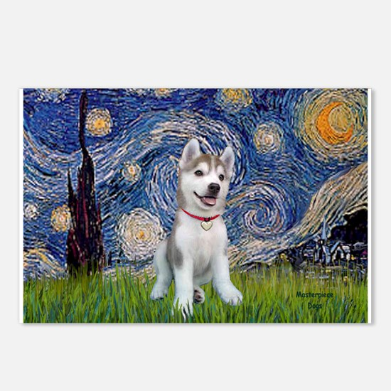 Starry-Siberian pup Postcards (Package of 8)