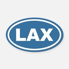 Blue Lax Euro Oval Car Magnet
