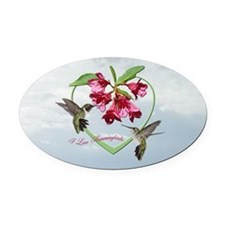 I love hummingbirds Oval Car Magnet