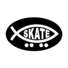 Skating Fish Oval Car Magnetblack) (Oval)