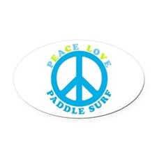 Peace Love Paddle Surf Oval Car Magnet