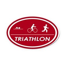 Triathlon Oval Red Oval Car Magnet