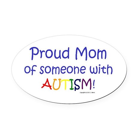 """""""Proud Mom"""" Oval Car Magnet"""