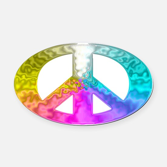 Peace Rainbow Splash Oval Car Magnet
