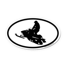Snowmobile Euro Oval Car Magnet (jumping)
