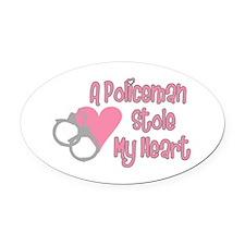 Policeman Stole My Heart Oval Car Magnet