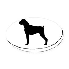 Boxer Oval Car MagnetNatural Ears)