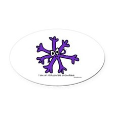 Itchy purple snowflake Oval Car Magnet