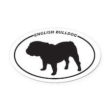 English Bulldog Silhouette Oval Car Magnet