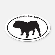 English Bulldog Silhouette Oval Car Magnet