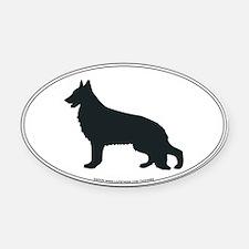 German Shepherd Silhouette Oval Car Magnet