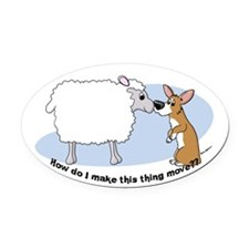 Corgi Herding Problem Oval Car Magnet