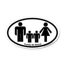 Family On Board Euro Oval Car Magnet (Two children