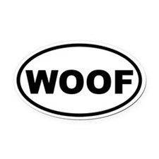 Woof Oval Car Magnet