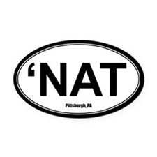 'Nat Oval Car Magnet - White
