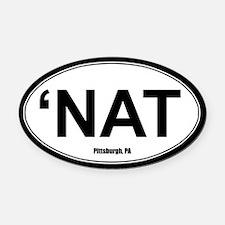 'Nat Oval Car Magnet - White