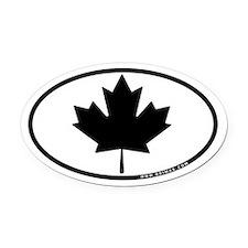 Black Maple Leaf Oval Car Magnet