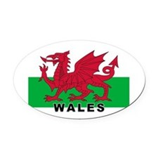 Welsh Flag (labeled) Oval Car Magnet