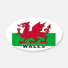 Welsh Flag (labeled) Oval Car Magnet
