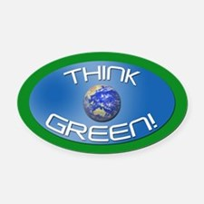 THINK GREEN! Oval Car Magnet