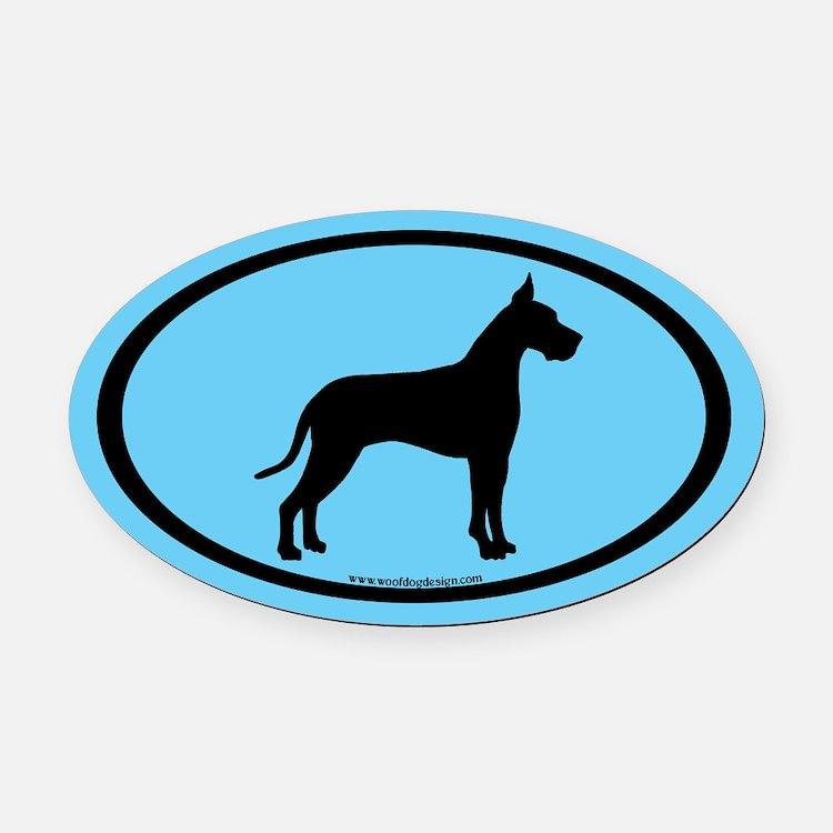 great dane oval (black on blue) Oval Car Magnet
