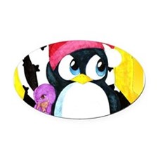 """""""Chilly & Bob"""" Oval Car Magnet"""