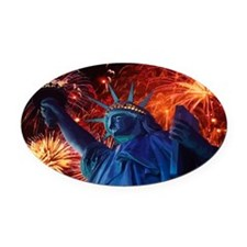 America's Lady Liberty Oval Car Magnet