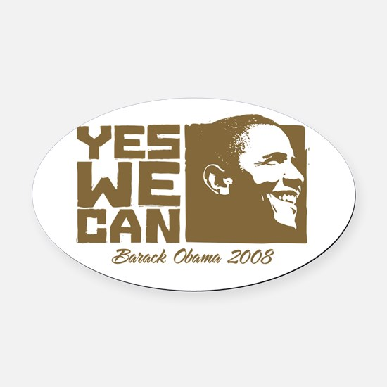 Yes We Can (brown) Oval Car Magnet