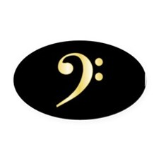 """Gold"" Bass Clef Oval Car Magnet"