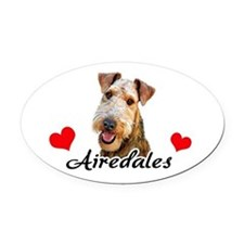 Love Airedales Oval Car Magnet