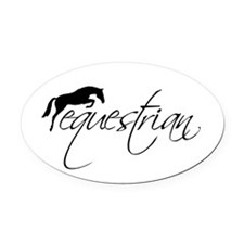 equestrian w/jumping horse Oval Car Magnet