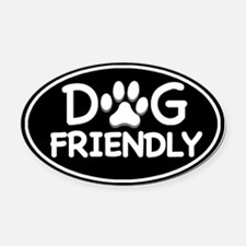 Dog Friendly Black Oval Oval Car Magnet