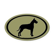 great dane oval (white on sage) Oval Car Magnet