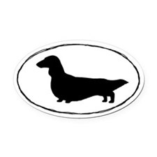 Longhaired Dachshund Oval Car Magnetilhouette Oval