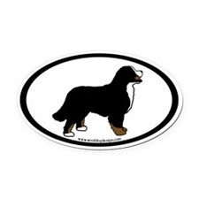 Bernese Mt. Dog (inner border) Oval Car Magnet