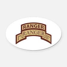 1st Ranger Bn Scroll/ Tab Des Oval Car Magnet