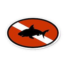 Scuba Diver Flag with Shark Oval Car Magnet