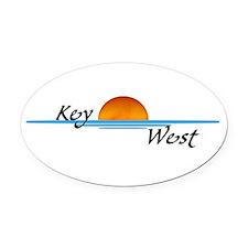 Key West Sunset Oval Car Magnet