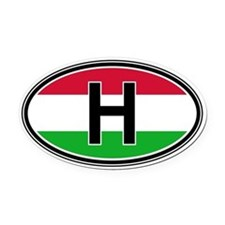 Hungary Euro Oval Car Magnet