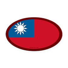 Taiwanese Flag Oval Car Magnet
