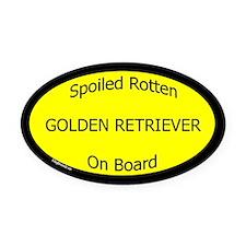 Spoiled Golden Retriever On Board Oval Car Magnet