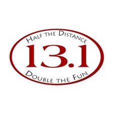 13.1 - Half the Distance Oval Car Magnet