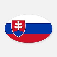 Flag of Slovakia Oval Car Magnet